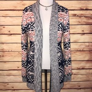 Hippie Rose Tribal Shawl Collar Open Cardigan